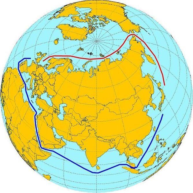 Przejśćie Północno-Wschodnie (kolor czerwony) to krótsza droga morska łącząca Europę z Pacyfikiem