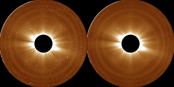 Obserwacje sond STEREO, które pozwoliły naukowcom ustalić zewnętrzną granicę korony słonecznej. Ciemne okręgi na zdjęciach zasłaniają samo Słońce, żeby silny blask nie uszkodził czułych instrumentów