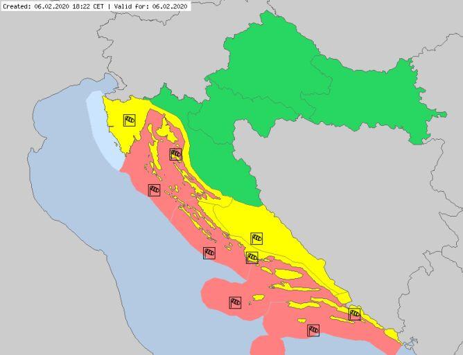 Ostrzeżenia meteorologiczne dla Chorwacji (meteoalarm.eu)