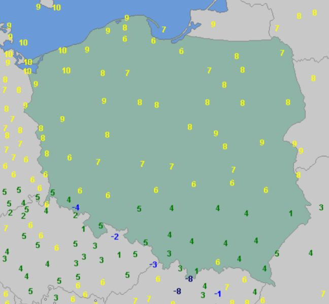 Temperatura powietrza o godzinie 8 (wetteronline.de)